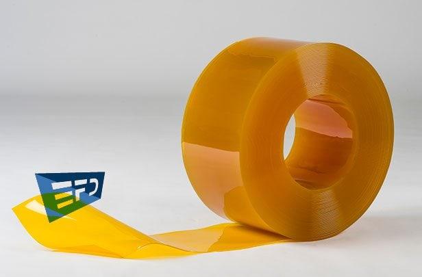 PVC Streifen Rollenware Gelb Transparent