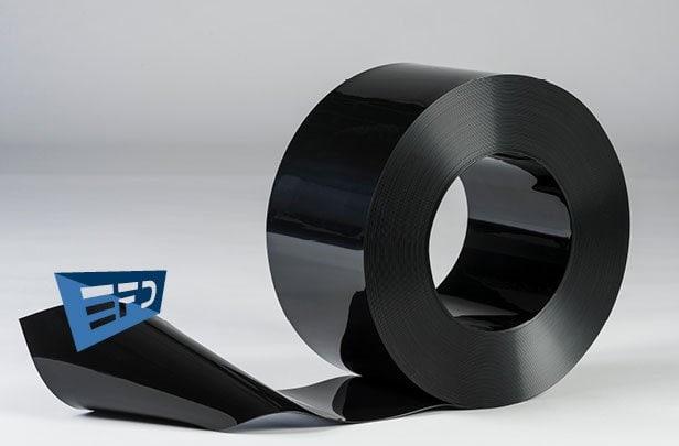 PVC Streifen Rollenware Schwarz Undurchsichtig