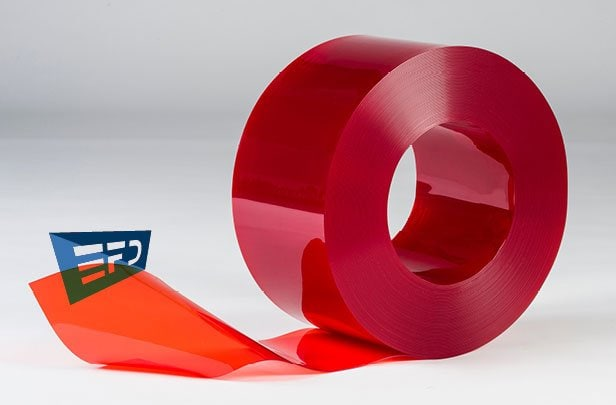 PVC Streifen Rollenware Rot Transparent