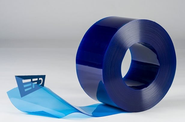 PVC Streifen Rollenware Blau Transparent