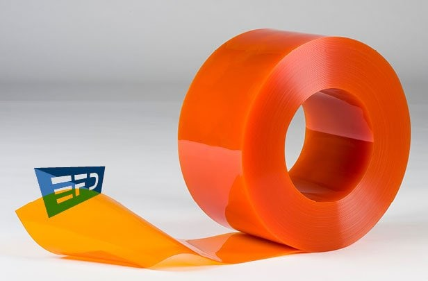 PVC Streifen Rollenware Orange Transparent